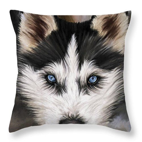 Dog Art Throw Pillow featuring the painting Nikki by David Wagner