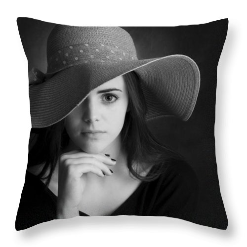 Portrait Throw Pillow featuring the photograph Nikki by Greg McMahon