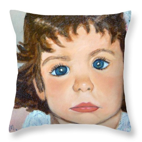 Portrait Throw Pillow featuring the painting Nikki by Laurie Morgan