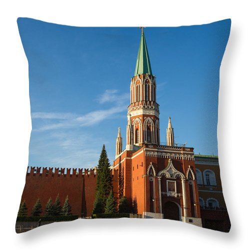 Nicholas Throw Pillow featuring the photograph Nikolskaya - St. Nicholas - Tower Of The Kremlin - Square by Alexander Senin
