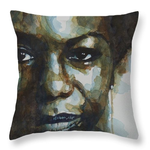 Nina Simone Throw Pillow featuring the painting Nina Simone Ain't Got No by Paul Lovering