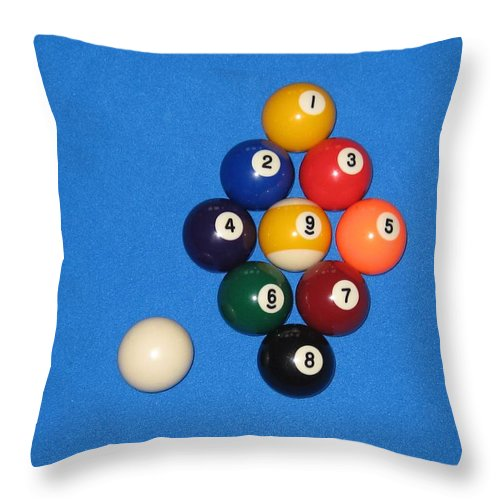 Pools Throw Pillow featuring the photograph Nine Ball Rack. by Christopher Rowlands