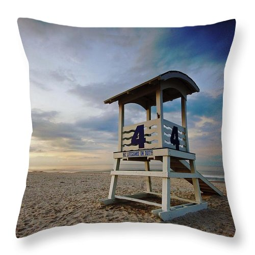 Palm Throw Pillow featuring the digital art No 4 Lifeguard Station by Michael Thomas