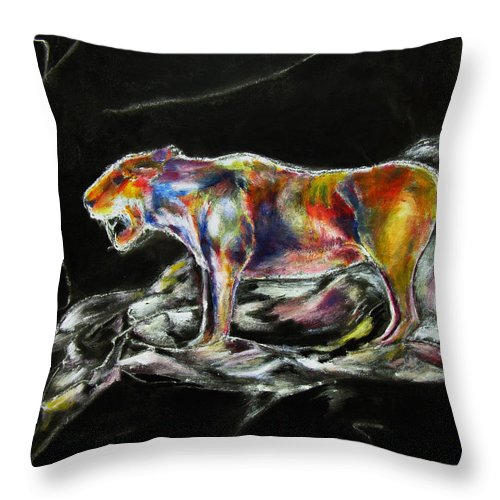 Animals Throw Pillow featuring the painting No Fear by Tom Conway