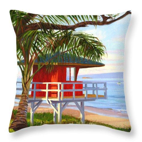 Maui Throw Pillow featuring the painting No Guard On Duty - Kamaole Beach by Steve Simon