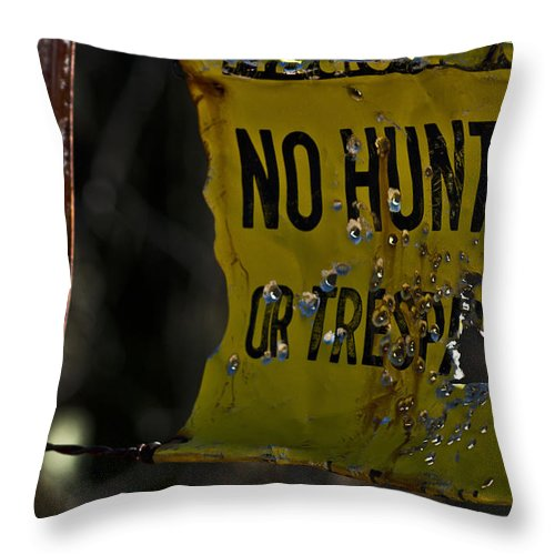 Hunting Throw Pillow featuring the photograph No Hunting by Patrick Moore