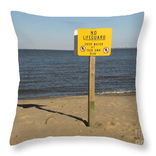 Schuminweb Throw Pillow featuring the photograph No Lifeguard Sign At Sandy Point by Ben Schumin