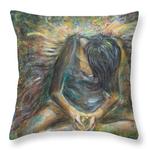 Angel Throw Pillow featuring the painting No Paradise by Nik Helbig