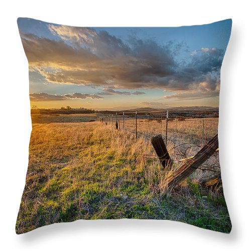 California Throw Pillow featuring the photograph No Pass by Peter Tellone