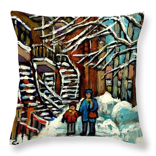 Montreal Throw Pillow featuring the painting No School Today Out For A Snowy Walk Verdun Winter Winding Staircases Montreal Paintings C Spandau by Carole Spandau