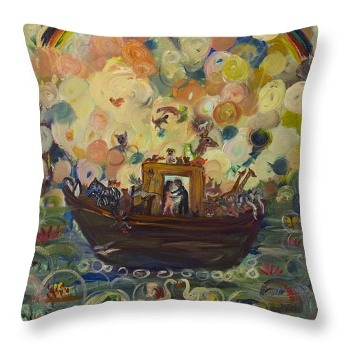 Noah Throw Pillow featuring the painting Noah's Ark by Avonelle Kelsey