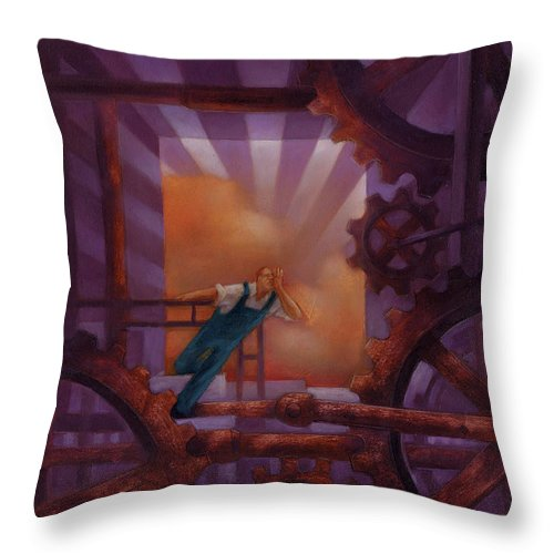 Factory Throw Pillow featuring the painting Noise by Chris Van Es