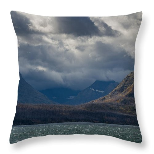 Glacier National Park Throw Pillow featuring the photograph Noontide At St. Mary Lake by Greg Nyquist