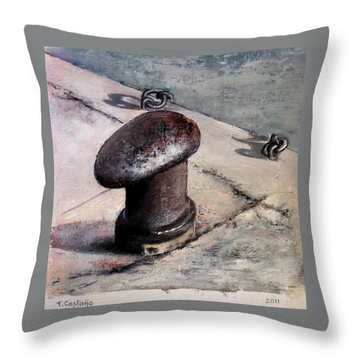 Noray Throw Pillow featuring the painting Norays by Tomas Castano