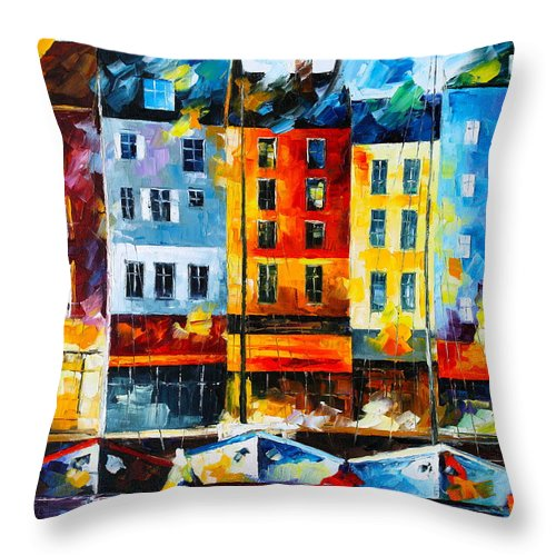 Afremov Throw Pillow featuring the painting Normandy France by Leonid Afremov