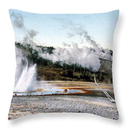 History Throw Pillow featuring the photograph Norris Geyser Basin Yellowstone National Park by NPS Photo Detroit Photographic Co