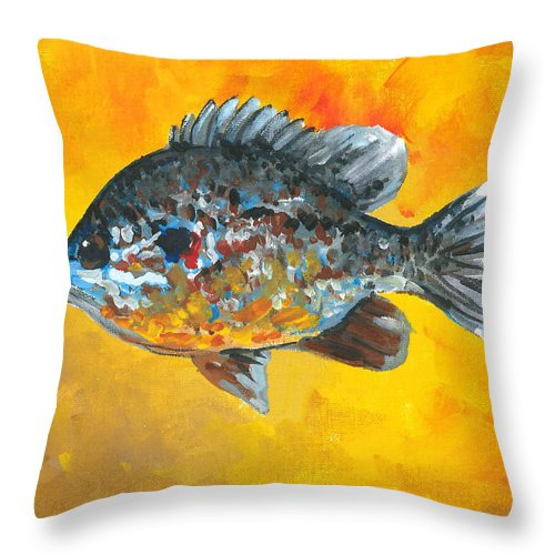 Sunfish Throw Pillow featuring the painting North America Sunfish by Robin Pelton