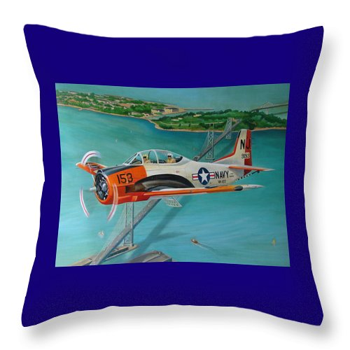 Aviation Throw Pillow featuring the painting North American T-28 Trainer by Stuart Swartz