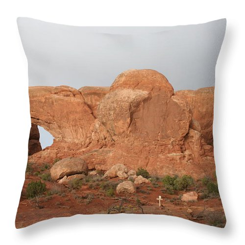 Window Throw Pillow featuring the photograph North And South Window Arches Np by Christiane Schulze Art And Photography