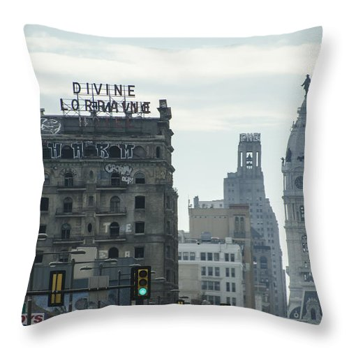 North Throw Pillow featuring the photograph North Broad Street by Bill Cannon