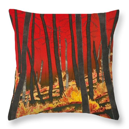 Fire Throw Pillow featuring the mixed media North Carolina Forests Under Fire II by Jenny Williams