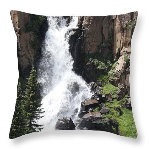 Water Falls Throw Pillow featuring the photograph North Clear Creek Falls by Brandi Maher
