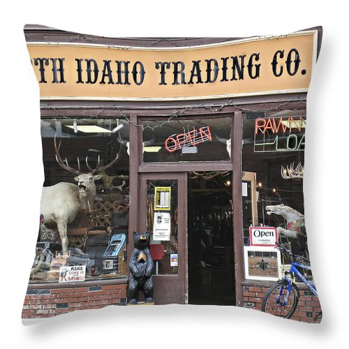 Idaho Throw Pillow featuring the photograph North Idaho Trading Company by Daniel Hagerman