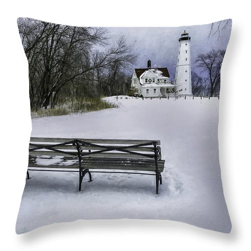 Lighthouse; Light House; Architecture; Beacon; Winter; Snow; Overcast; Cloudy; Cold; White; Tower; Keeper; House; Milwaukee; Lake Michigan; Structure; Building; Midwest; Shore; Nautical; Light Station; Coast; Frozen; Ice; Fine Art Photography; Scott Norris Photography; Bench; Sit; Rest; Park Bench; Wooden Bench Throw Pillow featuring the photograph North Point Lighthouse And Bench by Scott Norris