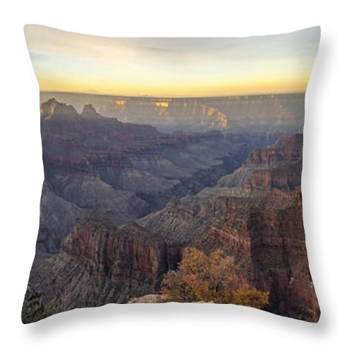 North Rim Sunrise Grand Canyon National Park Arizona Az Throw Pillow featuring the photograph North Rim Sunrise Panorama 2 - Grand Canyon National Park - Arizona by Brian Harig