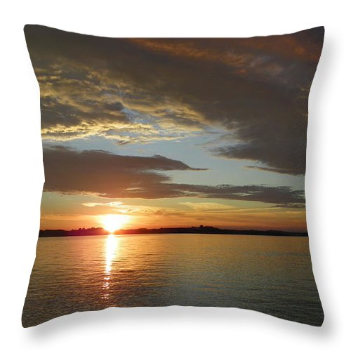 Sunsets Throw Pillow featuring the photograph North River Sunset by Georgia Hamlin