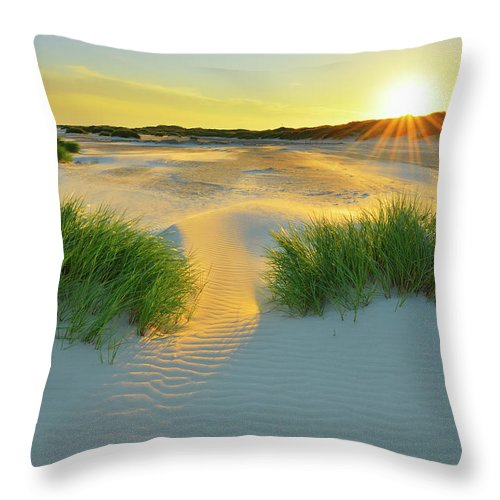 Scenics Throw Pillow featuring the photograph North Sea Sandbank Kniepsand by Raimund Linke