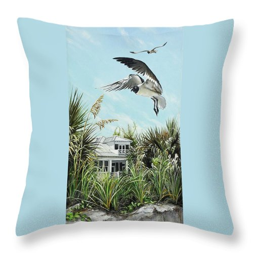 Bird Throw Pillow featuring the painting North Shore Landing by Joan Garcia