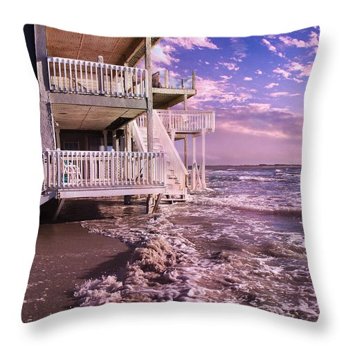 Topsail Throw Pillow featuring the photograph North Topsail Beach Tides That Tell by Betsy Knapp