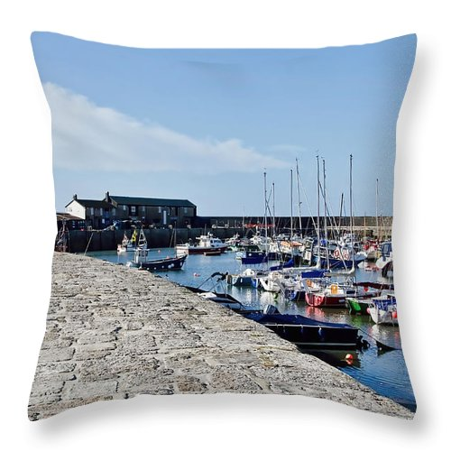 Lyme-regis Throw Pillow featuring the photograph North Wall - Lyme Regis Harbour by Susie Peek