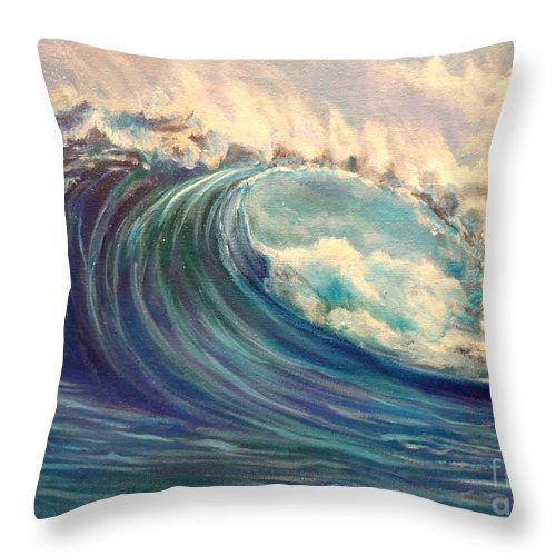 Huge Wave Throw Pillow featuring the painting North Whore Wave by Jenny Lee