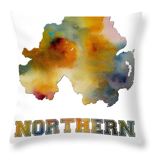 Northern Throw Pillow featuring the digital art Northern Ireland Watercolor Map by Voros Edit