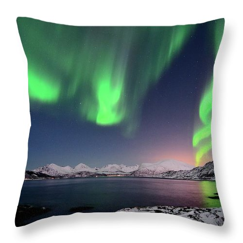 Tranquility Throw Pillow featuring the photograph Northern Lights And Moonlit Landscape by John Hemmingsen