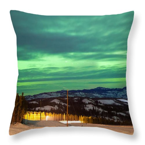 Alaska Throw Pillow featuring the photograph Northern Lights Aurora Borealis Over Rural Winter by Stephan Pietzko