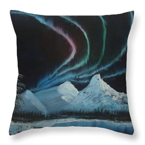Landscape Throw Pillow featuring the painting Northern Lights by Ian Donley