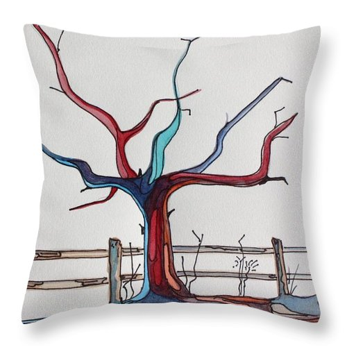 Tree Throw Pillow featuring the painting Roots by Pat Purdy