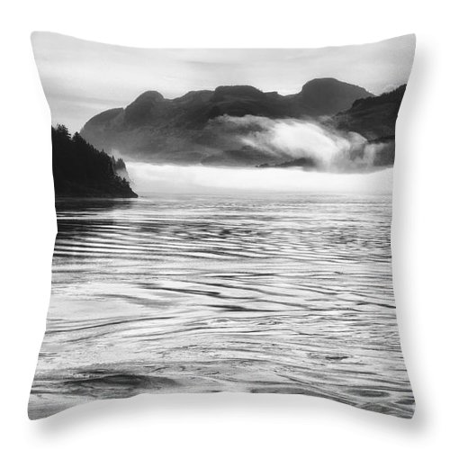 Black And White Photo Water Throw Pillow featuring the photograph Inside Passage Mist by Kate McKenna