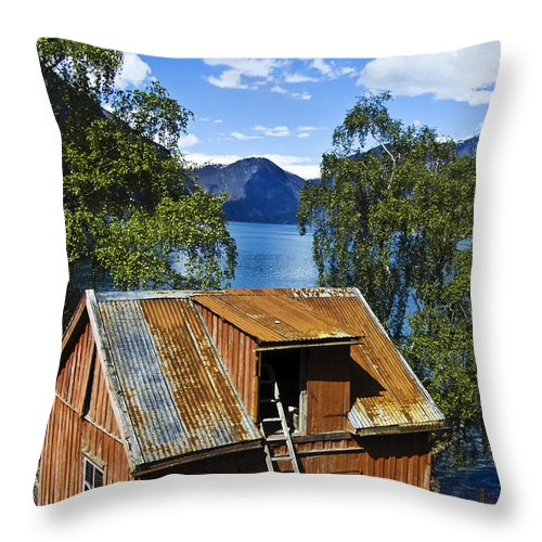 Heiko Throw Pillow featuring the photograph Norwegian Barn House by Heiko Koehrer-Wagner