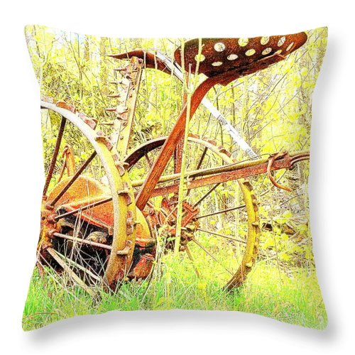 Farm Throw Pillow featuring the painting This Thing Is Not Going To Work Anymore But It Refuses To Die by Hilde Widerberg