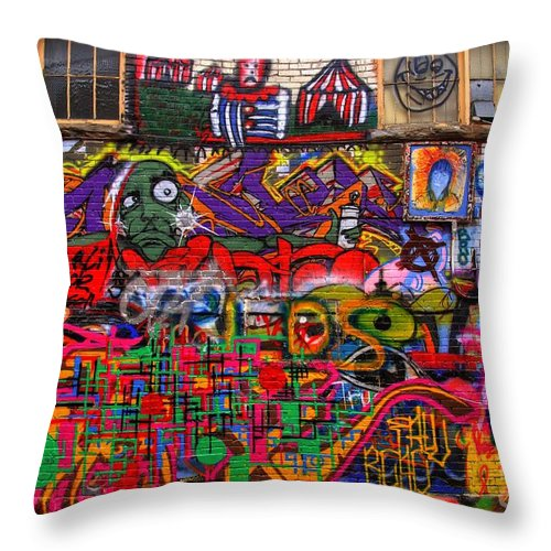 Graffiti Throw Pillow featuring the photograph Not So Private Property by Anthony Wilkening