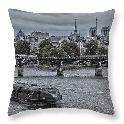 Cathedral Throw Pillow featuring the photograph Notre Dame And Boat On The River Seine Paris by Philip Pound