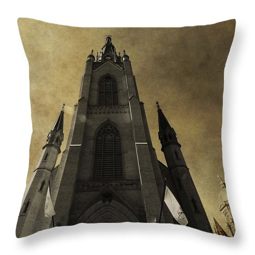 Golden Dome At Notre Dame Throw Pillow featuring the photograph Notre Dame Basilica by Dan Sproul