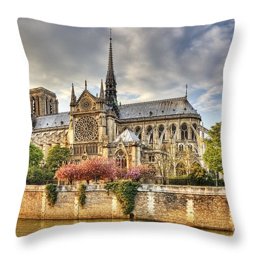 Paris Throw Pillow featuring the photograph Notre Dame De Paris Cathedral by Radu Razvan