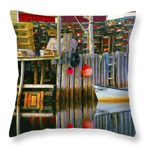 Fishing Village Throw Pillow featuring the photograph Nova Scotia Fishing Village by Glen Wilkerson