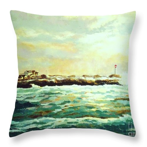 Ocean Paintings Throw Pillow featuring the painting Nova Scotia by Madeleine Holzberg