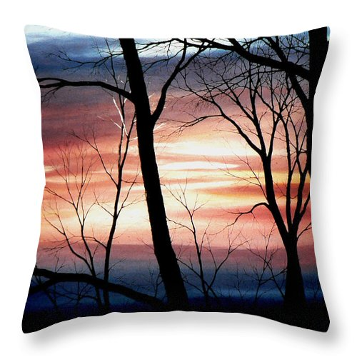 Fall Landscape Painting Throw Pillow featuring the painting November Lace by Hanne Lore Koehler
